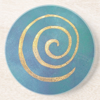 Philip Bowman Infinity Bright Blue Spiral Gold Coaster