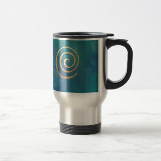 Philip Bowman Infinity Bright Blue Spiral Gold Coffee Mug