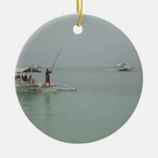 philipino fisherman round ceramic decoration