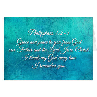 Philippians 1:2-3 Grace and Peace to You Scripture Card