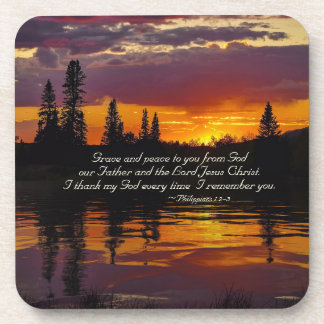 Philippians 1:2-3 Grace and Peace to You, Sunset Coaster
