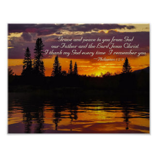 Philippians 1:2-3 Grace and Peace to You, Sunset Poster