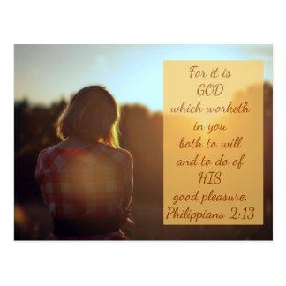 Philippians 2:13 - Bible Verse Postcard