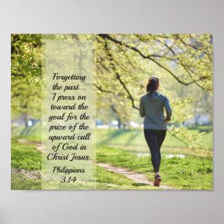 Philippians 3:14 Bible Verse, Girl Running Poster