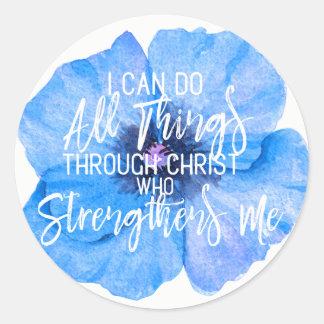 Philippians 4:13 Beautiful Blue Flower Design Classic Round Sticker