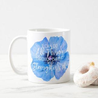 Philippians 4:13 Beautiful Blue Flower Design Coffee Mug