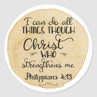 Philippians 4:13 Bible Christian Stickers Gold