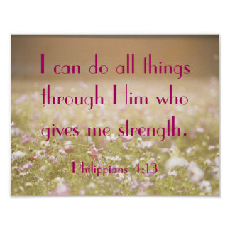 Philippians 4:13 Bible Verse Flower Field Photo Poster
