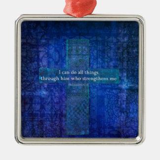Philippians 4:13 BIBLE VERSE Silver-Colored Square Decoration