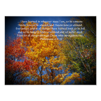 Philippians 4:13 I can do all things Christ Autumn Poster