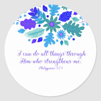 Philippians 4:13 – I Can Do All Things - Verse Classic Round Sticker