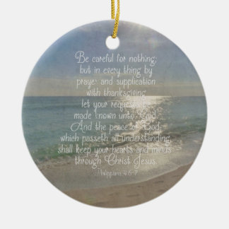Philippians 4:13 Peace Bible Verse Beach Christian Round Ceramic Decoration