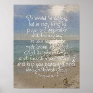 Philippians 4:13 Peace Bible Verse Beach Christian Poster