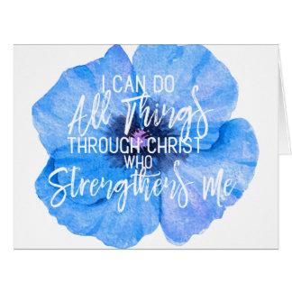 Philippians 4:13 Pretty Blue Floral Design Card