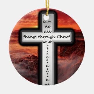 Philippians 4:13 round ceramic decoration