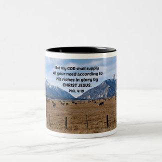 Philippians 4:19 Two-Tone coffee mug