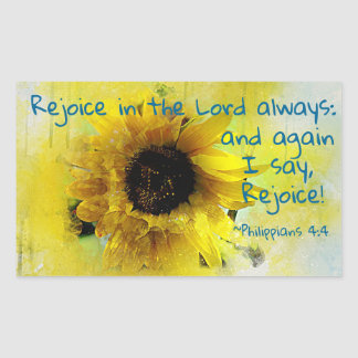 Philippians 4:4 Rejoice in the Lord Always! Bible Rectangular Sticker