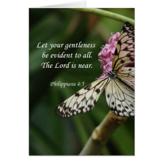Philippians 4:5 Butterfly Flowers Card