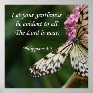 Philippians 4 5 Butterfly Flowers Print