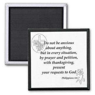 Philippians 4:6-7 square magnet