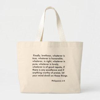 Philippians 4:8 large tote bag