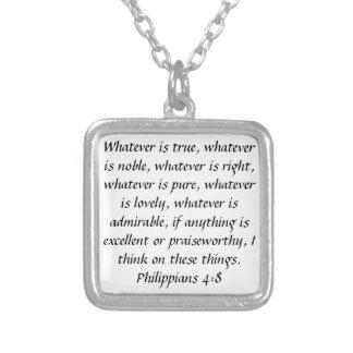 Philippians 4:8 praiseworthy bible verse necklace