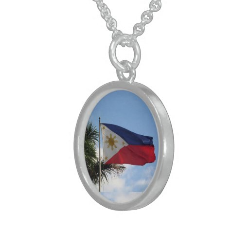Philippine Flag - Sterling Silver Round Necklace