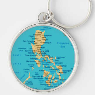Philippine Map, Large Premium Round Keychain