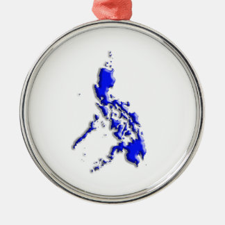 Philippine Map Silver-Colored Round Decoration