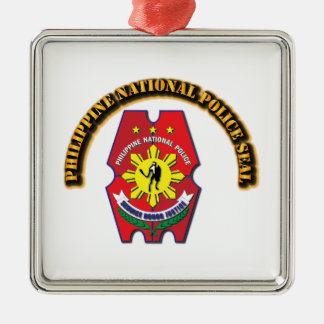 Philippine National Police Seal with Text Silver-Colored Square Decoration