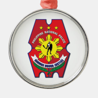 Philippine National Police Seal without Text Silver-Colored Round Decoration