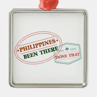 Philippines Been There Done That Silver-Colored Square Decoration
