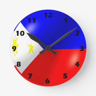 Philippines Flag Design Round Clock