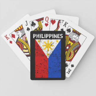 Philippines Flag -Distressed playing cards