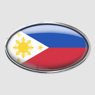 Philippines Flag Glass Oval Oval Sticker