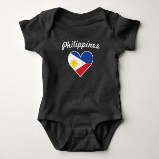 Philippines Flag Heart Baby Bodysuit