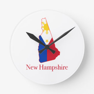 Philippines flag over New Hampshire state map Clock