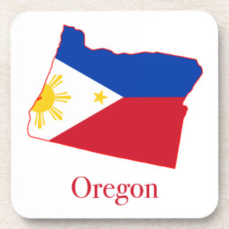 Philippines flag over Oregon state map Beverage Coasters