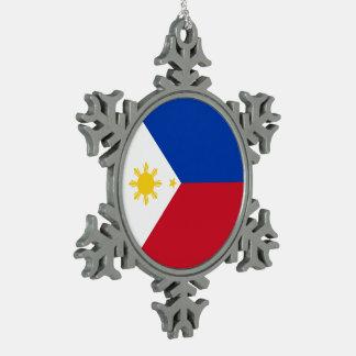 Philippines Flag Pewter Snowflake Decoration