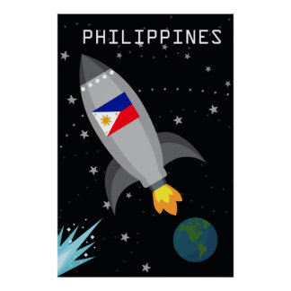 Philippines Flag Rocket Ship Poster