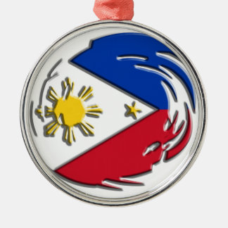 Philippines FLag Silver-Colored Round Decoration
