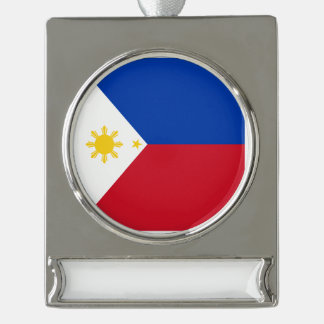 Philippines Flag Silver Plated Banner Ornament