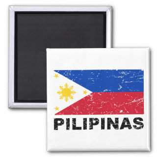 Philippines Flag Vintage Square Magnet