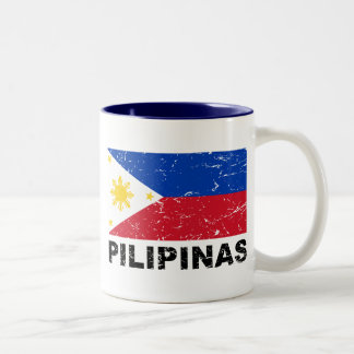 Philippines Flag Vintage Two-Tone Coffee Mug