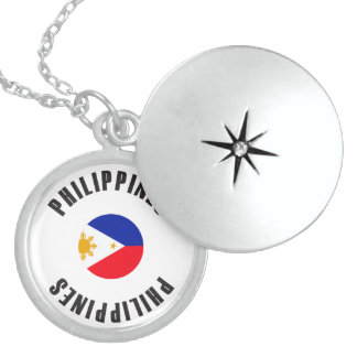 Philippines Flag Wheel Sterling Silver Necklace