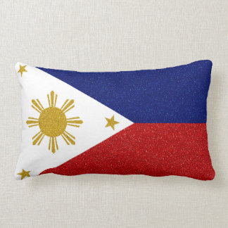 Philippines Glitter Flag Lumbar Pillow