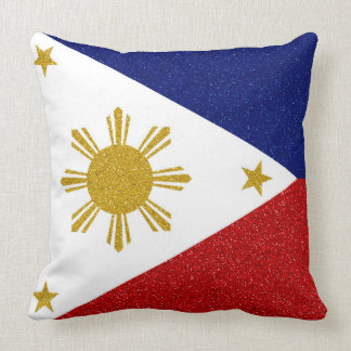 Philippines Glitter Flag Throw Pillow