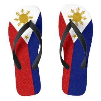 Philippines Glitter Flag, Wide Straps Thongs
