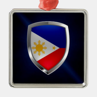 Philippines Metallic Emblem Silver-Colored Square Decoration