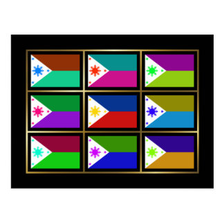 Philippines Multihue Flags Postcard